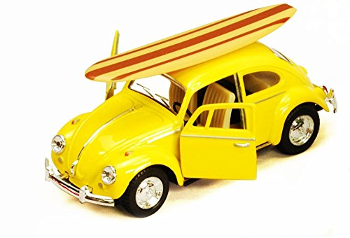 1967 Volkswagen Beetle w/ Surfboard, Yellow - Kinsmart 5057DS - 1/32 Scale Diecast Model Toy Car, but NO Box