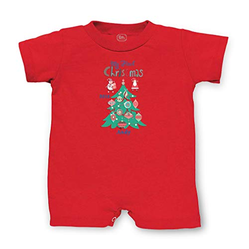Personalized Custom My First Christmas Christmas Tree Cotton Short Sleeve Tapped Neck Boys-Girls Infant T-Romper Jersey Tee - Red, 6 Months