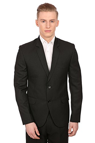 Pinstripe Blazer Black Jacket (WINTAGE Men's Merino Wool Blend Notch Lapel Black Pin Stripe Suit,52/5XL)