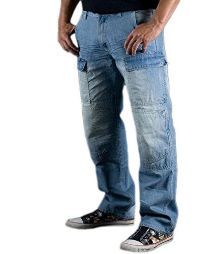 Juicy Trendz® Mens motorfiets jeans motorfiets cargo denim broek met bescherming voering