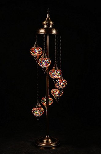 - Turkish Moroccan Mosaic Floor Lamp Light, 7 Small  Globes