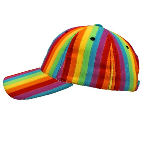 a71bd0661 Luxury Divas Bright Rainbow Striped Baseball Cap Hat