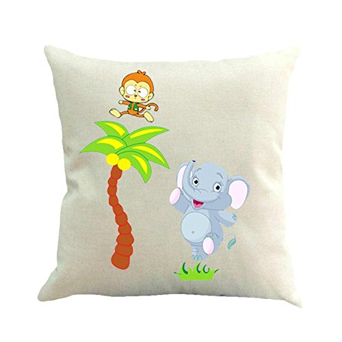 BIBITIME Palm Tree Monkey Elephant Pillow Case Cushion Cover Animal Decorative Pillowcase Protector Square 17.72 x 17.72 inches for Living - Monkey Palm Elephant Tree