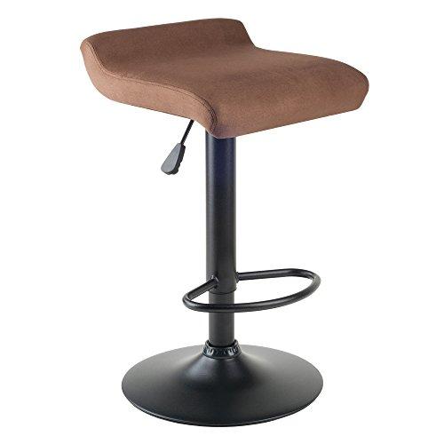 Winsome Wood Marni Taburete de elevación ajustable por aire comprimido y asiento de microfibra, acabado negro