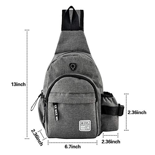 AMJ Sling Bag Shoulder Backpack for Women Men with Earphone Hole Chest Bags Small Crossbody for Hiking Camping Cycling Trip