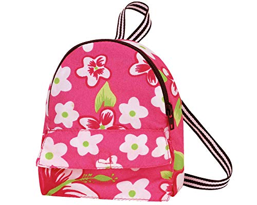 Sophia's Pink Flower Print Backpack Sized for 18 Inch Dolls | Front Pocket, Zipper Opening | Pink and Green Floral Doll Bag (American Girl Doll Backpack)
