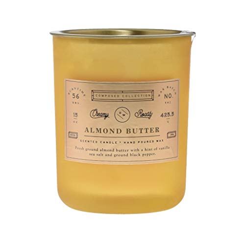 Richly Scented Almond Butter Large Double Wick Hand Poured Wax Candle - Compossed Collection - 15oz. -