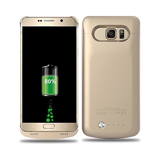 Galaxy s6 Edge Plus Battery Case - BIGFOX External Charger Case for Samsung Galaxy S6 Edge Plus - [4200mAh] S6 Edge Plus Ultra Slim Rechargeable Portable Charger Cover Case Power Bank Case (Gold)