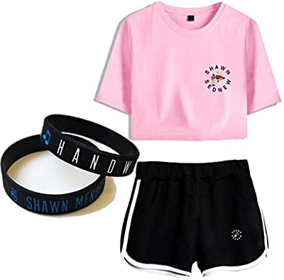 Shawn Mendes T-Shirt Suit Couple Wristband Gift Concert Tee Music Short Sleeve Fashion Print Bracelet Navel Mix Colours