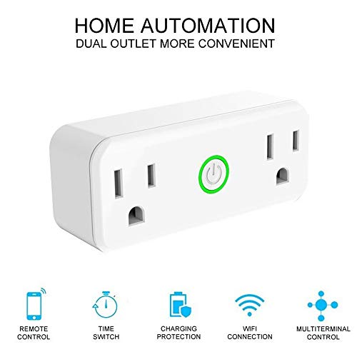 Iusun WiFi Smart Plug Voice Control Timing Switch, No Hub Required, Work with Amazon Alexa Echo Surpport IOS and Android Phone-Shipping From USA (white, 2pcs)