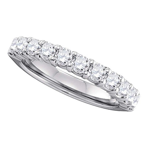 Round Diamond Semi Eternity Wedding Band Solid 14k White Gold Stackable Ring Bridal Style Womens 1.00 ctw by GemApex (Image #1)