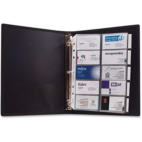 Anglers 303 3-Ring Business Card Binder 100 Card Cap 8-1/2-Inch x11-Inch Black ()
