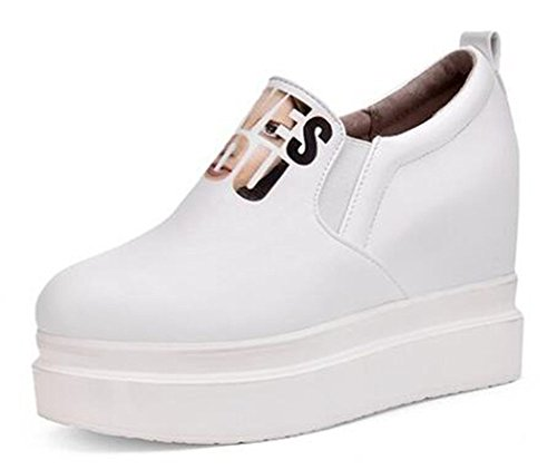 Platform Low Casual Womens Sneakers CHFSO Heel High White Wedge Round Elastic Top Toe vSBxwXxqp