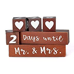 Lillium Wedding Day Countdown Calendar Block Sign - Counting Down Days Until Mr & Mrs - Wooden Engagement Gift Set for Engaged Couples - Bride to Be - Reversible Rustic Wood Date Dice I Do Event Clock