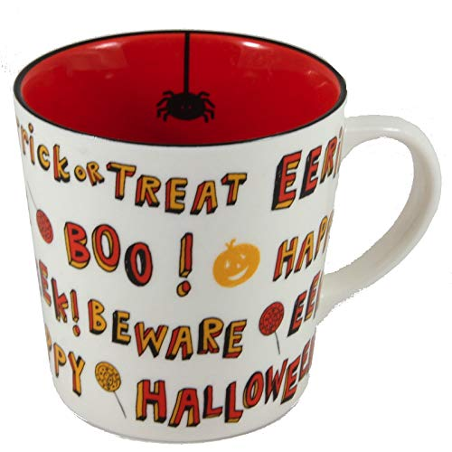 Starbucks Coffee 2007 Halloween Trick or Treet White & Orange Mug 16 fl. -