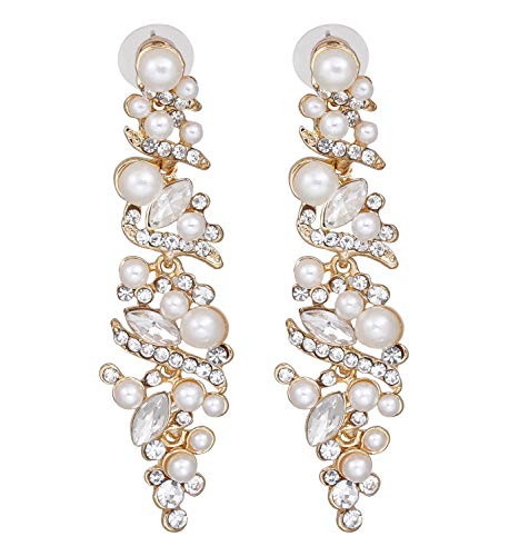 (NLCAC Women's Wedding Earrings for Brides Dangling Rhinestone Crystal Chandelier Earring Drop Bridesmaids (Pearl crystal earrings) )