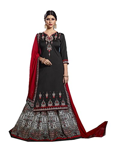 Indian Women Designer Partywear Ethnic Traditonal Black Anarkali Salwar Kameez by Da Facioun