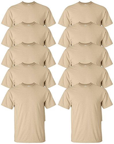Tan Brown Tee Shirt (Gildan mens Ultra Cotton 6 oz. T-Shirt(G200)-TAN-M-10PK)