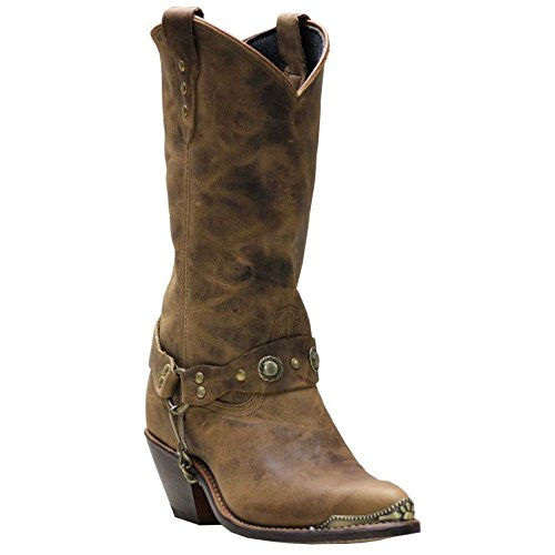 Abilene Women's Distressed Harness Cowgirl Boot Round Toe Tan 7 M US (Boots Cowgirl Studded Harness)