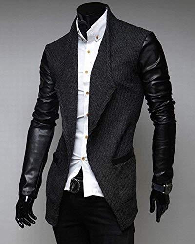 Marca Cappotto Trench Il Tweed Giacche Finta Di Pelle Colletto Uomo Rauchfarben Lungo Per Da Capispalla Tempo In Coat Mode Bolawoo Blazer Libero Suit AqO64a6w