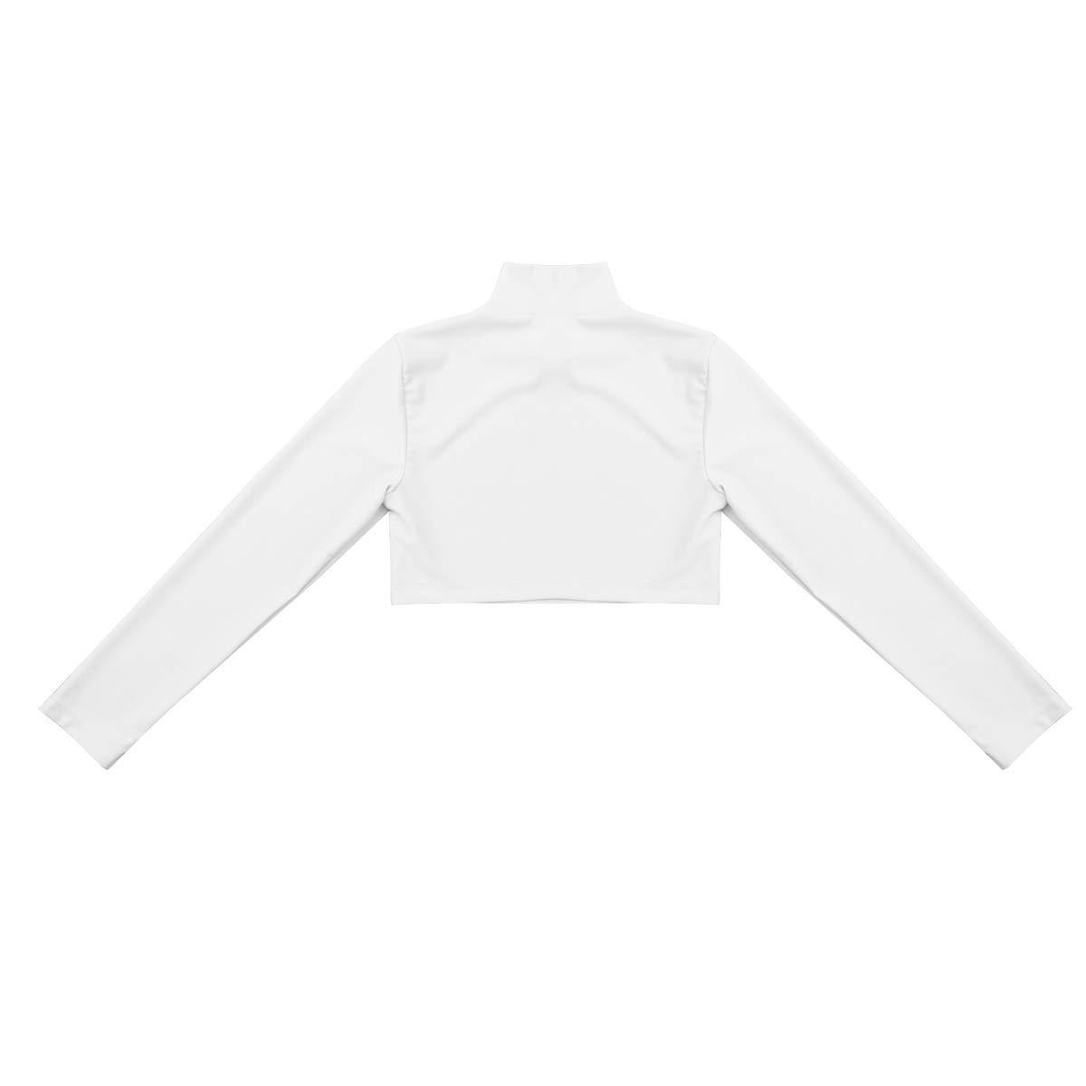 9fda8818e9a79 inhzoy Enfant Fille T-Shirt Manche Longue Gilet Blouse Haut Danse Ballet  Gymnastique Court Veste Top Sport Dancewear Été 6-14 Ans