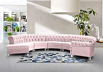 Amazon Com Esofastore Contemporary Pink Velvet 5 Pcs Sectional Sofa Set Elegant Living Room Furniture Furniture Decor
