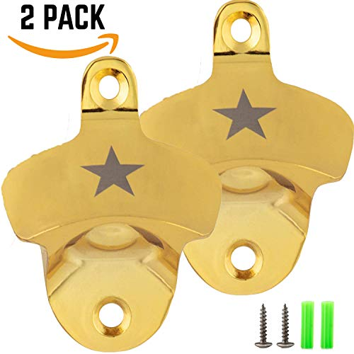 Wall Mount Bottle Opener (2 PACK) Vintage Outdoor Perfect Gift for Men, For Beer Soda Lovers with Mounting Screws (Star - Gold) ()