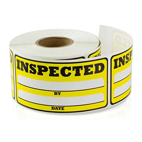 TUCO DEALS 1.5 x 3 Inch - Inspected by Date Special Handling Shipping Warehouse Inventory Control Pallet Yellow Stickers 2 Rolls (Yellow, 2 Rolls Per Pack) by TUCO DEALS