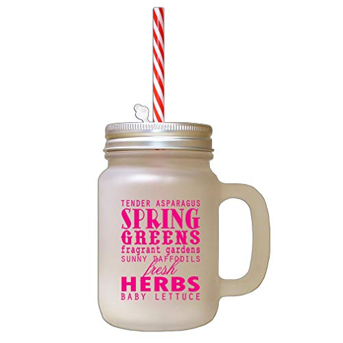 - Hot Pink Tender Asparagus Spring Greens Fragrant Gardens Frosted Glass Mason Jar With Straw