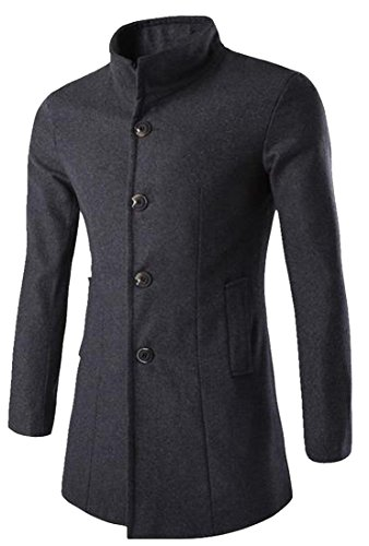 xiaokong Mens Elegant Banded Collar With Pockets Worsted Jacket Coat Darkgrey (Banded Collar Jacket)