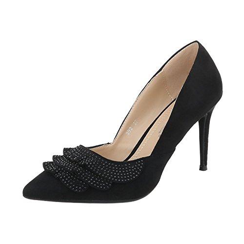 femme Ital compensées chaussures Design Noir ffqtST4