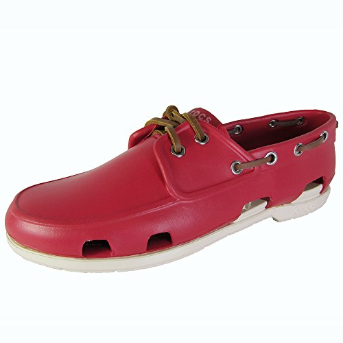 Crocs Mens Beach Line Slip On Boat Shoes, Pepper/Stucco, US 8