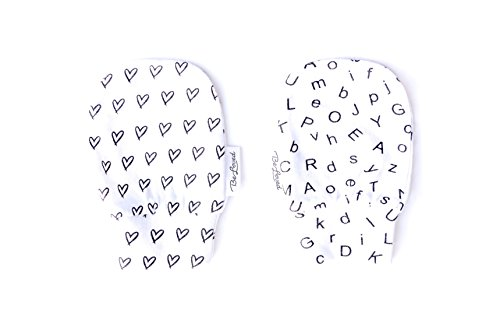 BeLoved Newborn Baby Mittens, NO scratch mittens, BeLoved, 2 pack 100% ORGANIC cotton, One size fits all, Black and White design. Hearts & - Baby No One Puts