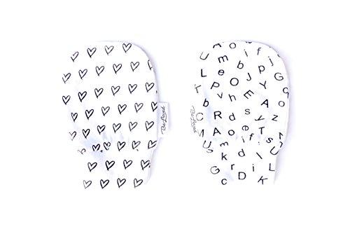 BeLoved Newborn Baby Mittens, NO scratch mittens, BeLoved, 2 pack 100% ORGANIC cotton, One size fits all, Black and White design. Hearts & ()