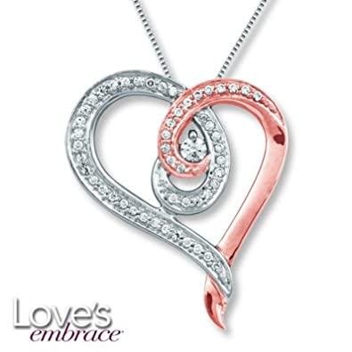 3cc01c56afe Amazon.com: Jared Love's Embrace Necklace 1/5 ct tw Diamonds Sterling Silver-  Birthstones: Jewelry