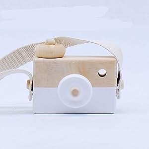 Baby Developmental Toys Wooden Camera Hand-Made Toys Cute Children Handmade Creative Photo Decorative Ornaments(White)