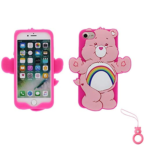 Artbling Case for iPhone 7 8,Silicone 3D Cartoon Animal Cover,Kids Girls Cool Lovely Cute Cases,Kawaii Soft Gel Rubber Unique Character Protector+Finger Ring for iPhone7 iPhone8 (Rainbow Bear)