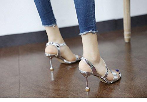 GaoXiao les sandales de cuir en été, des souliers à talons hauts, des chaussures de femme avec les orteils,argenté