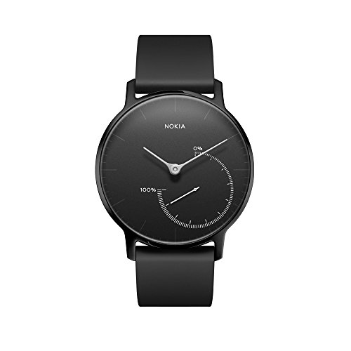 Nokia | Steel HR Hybrid Smartwatch – Activity Tracker, Heart Rate Monitor, Sleep Monitor, Water Resistant Smart Watch – Black Silicone Band (Silver/Black, 40mm)
