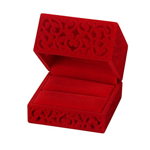 LittleTiger Pierced Velvet Jewelry Box for ring engagement gift wedding favor (Red)