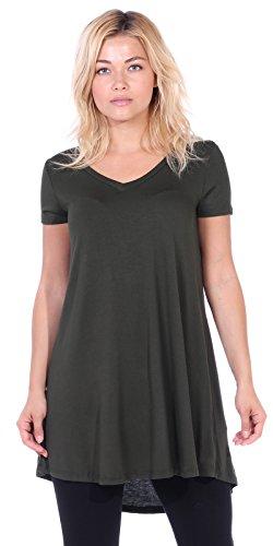 Popana Women's Tunic Tops for Leggings Short Sleeve Summer Shirt Made in USA X-Large ()