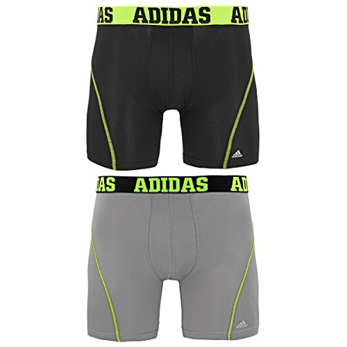 adidas Men's Sport Performance Climacool Boxer Brief Underwear (2-Pack), Black/Semi Solar Slime-Light Onix/Black, Large/Waist Size 36-38