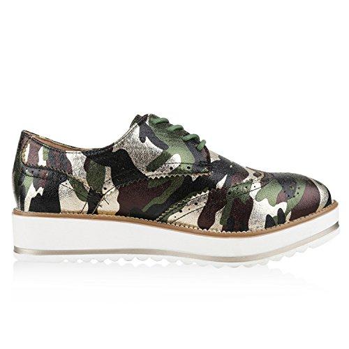 Japado - Zapatos de vestir brogues Mujer Camouflage Grün