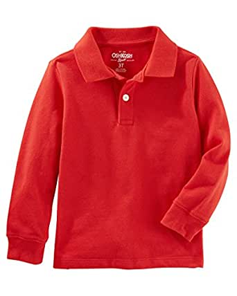 Osh Kosh Boys' Kids Long Sleeve Uniform Polo, Red, 5