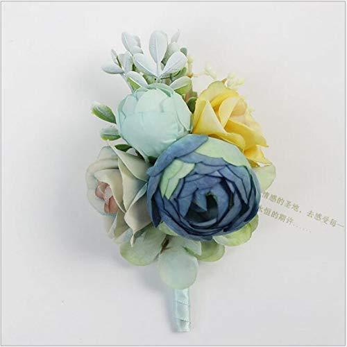 (DIY 1Pcs Artificial Blue Rose Corsage Groom Boutonniere Brooch Women Flower Bridal Hand Flowers Wedding Party)