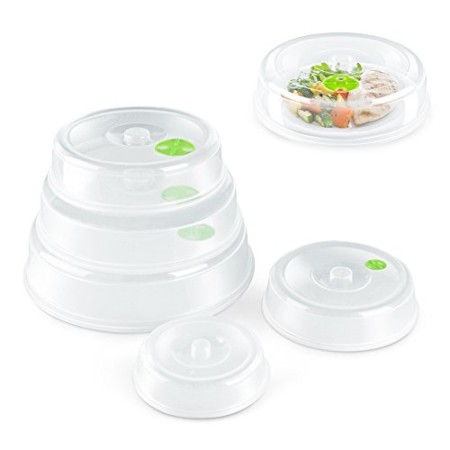 Flexzion Microwave Plate Cover Lid (5 Piece Set) - Dish Cover with Splatter Spatter Protection Guard, Steam Ventilation Window Dish Washer Safe - Mixed Sizes For Large & Small Food Plates Bowls (Portable Egg Washer compare prices)
