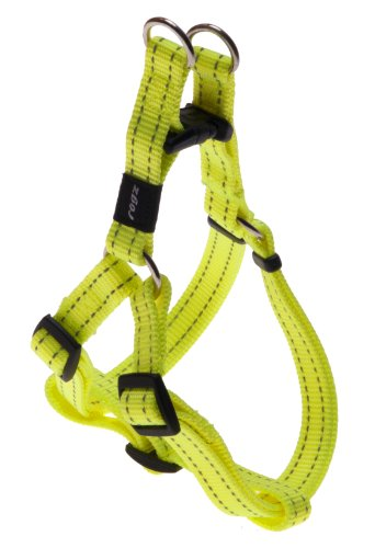 Reflective Adjustable Dog Step in Harness for Medium Dogs; matching collar and leash available, Yellow