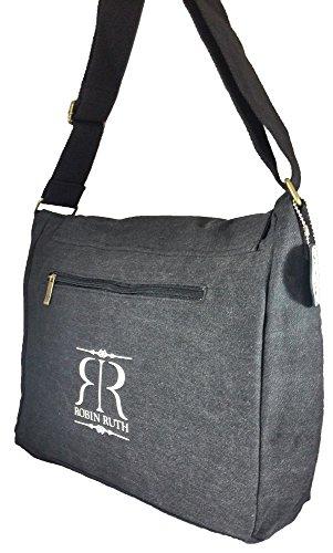 Robin Ruth Canvas Umhängetasche/Überschlagtasche WANTED Germany schwarz (Maße: LxHxT 34x28x13 cm