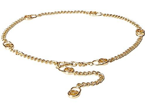 Michael Kors Chain Hamilton Lock Link Belt,Gold,L/XL