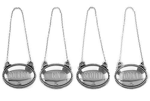 Whiskey Decanter Tags (Set of 4) Silver Liquor Decanter Labels - Bourbon, Scotch, Gin, Vodka - Oval Liquor Bottle Tags with Chain